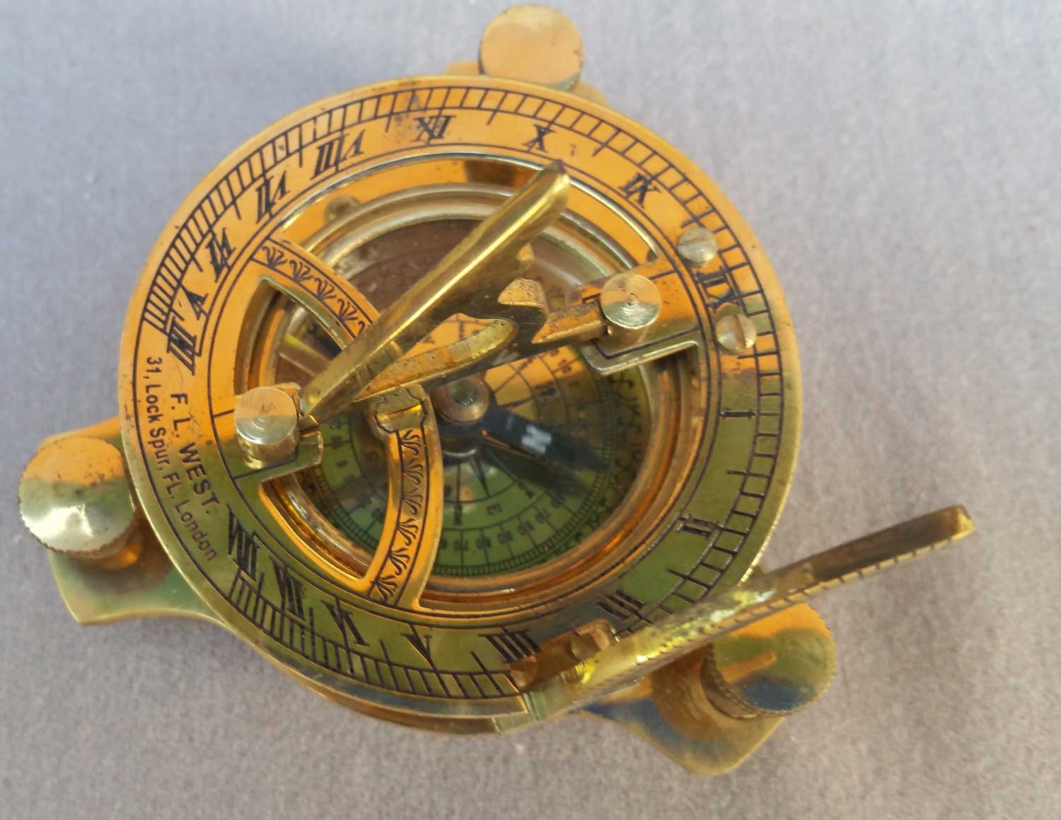 Folding Sundial Compass with Box