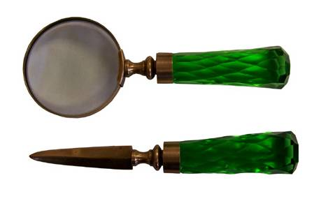 Emerald Handle Magnifier and Letter Opener Set
