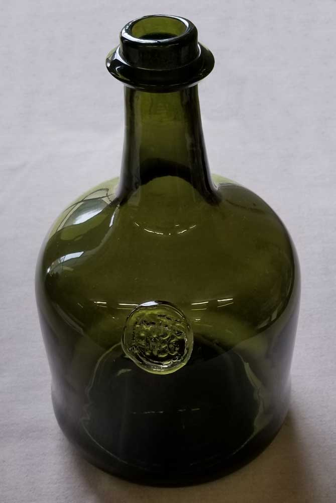 Wine Bottle, Hand Blown, Green