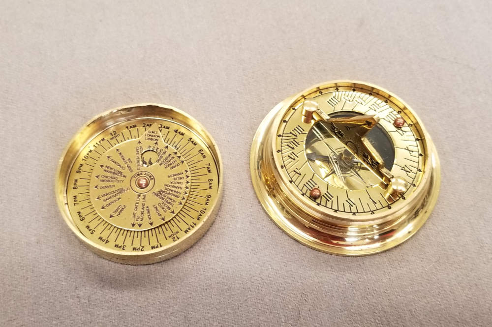 Folding Sundial Compass with Cover